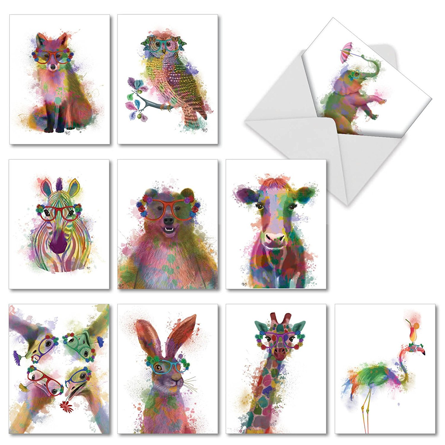 Funky Rainbow Wildlife: Assorted Blank Note Cards Featuring Hipster-Like Images of Wildlife with Colorful Paint Splotches