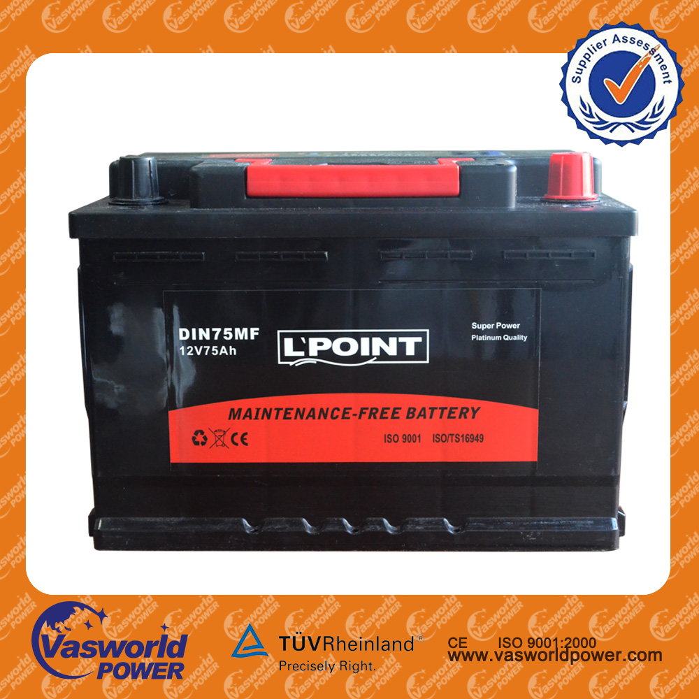 57531 DIN standard 12V75AH any color available lead acid battery plastic case