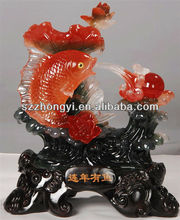 resin imitated jade carving/jade fish carvings