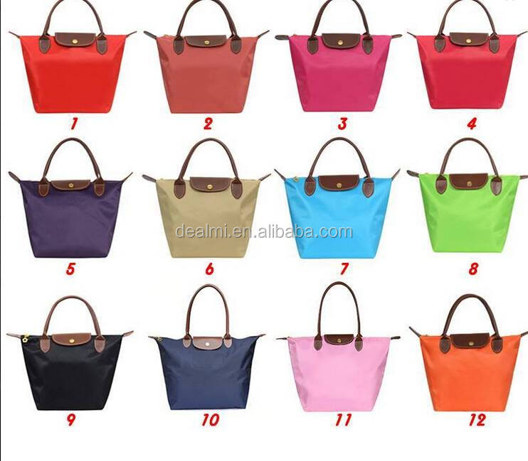 DEMI Wholesale folding leather handle monogram <strong>nylon</strong> tote bag