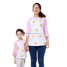 light pink 3/4 long sleeve white body gold bunny mommy and me t-shirts women daily pullover t-shirts