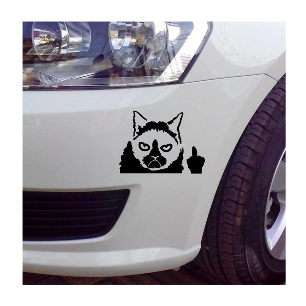 Iuhan grumpy cat funny car sticker vinyl art graphics decals for car bumper window black
