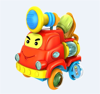 Springflower educational cars toys with music and light,come with assemble part,contains 2 handbell