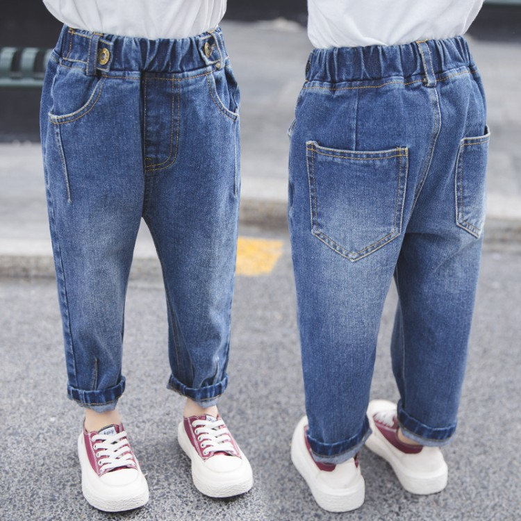 2019 spring new children's solid color jeans boys and girls loose pants