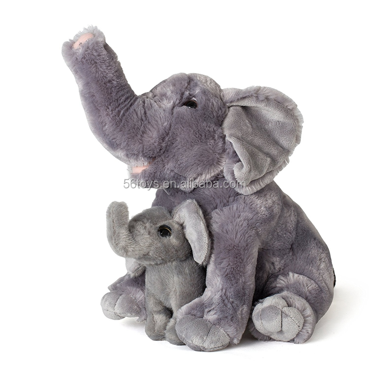 "Mom And Baby Elephants Plush Toys 2 Stuffed Elephants 11"" and 5.5"""