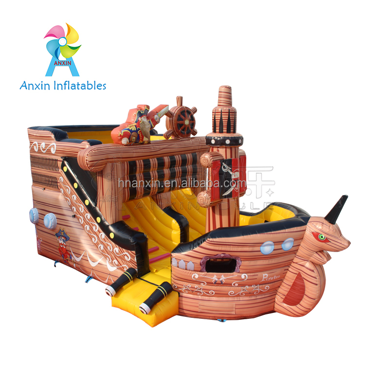 inflatable children castle sea rover bouncer, air blow bouncer pirate boat castle with slide and ladder