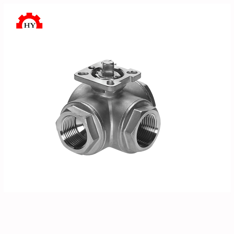 Professional SS316 pn16 full bore steel fixed stainless three way ball valve