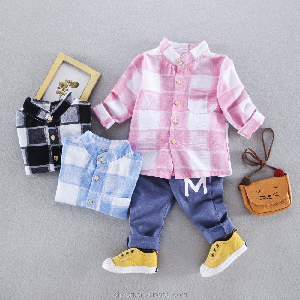 HT-GC plaid nice cotton soft new korean style children clothes, baby boys clothes, fashion kids clothing