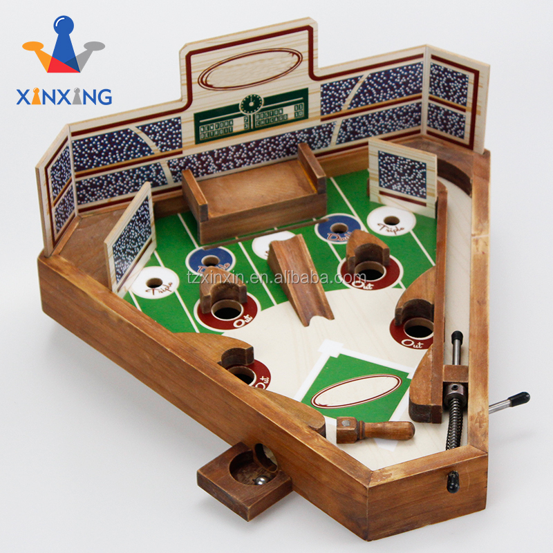 Archaistic Kleur Tafelblad Hout Baseball Flipperkast Set Draagbare Board Game
