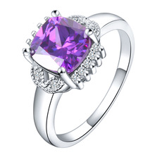 Foreign luxury Amethyst Ring Silver Diamond shape micro romantic bride wedding ring female wholesale zircon