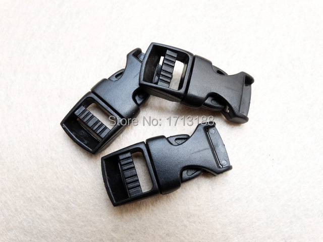 "50 pcs/Pack Brand New's Black 5/8"" Contoured/Curved Side Release Plastic Buckles For Paracord Survival Bracelet/Bag Backpack"
