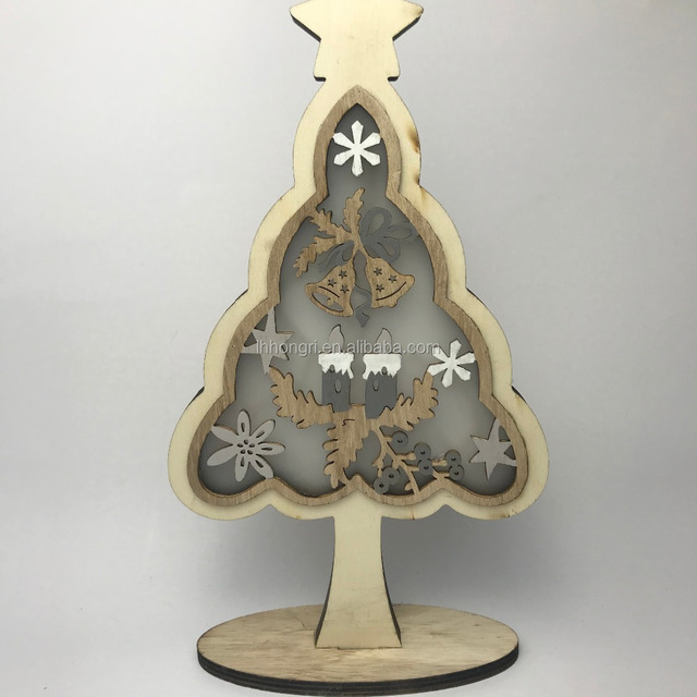 christmas decoration light wooden tree and star decoration lights christmas