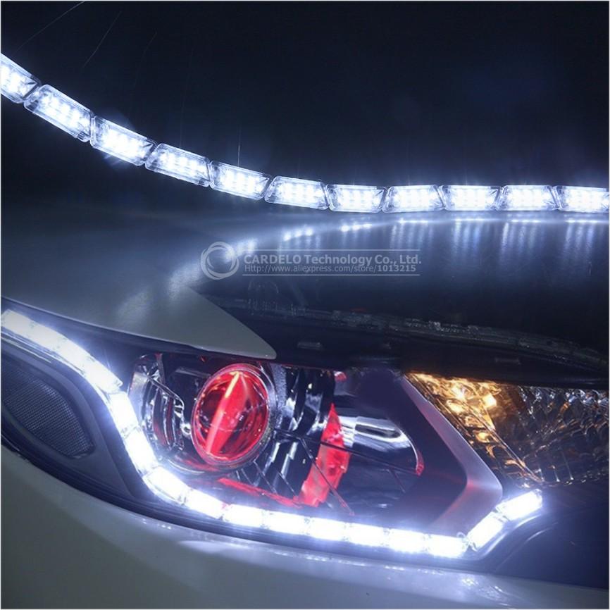 2x автомобилей гибкая белый / бело-янтарь горки из светодиодов рыцарь дорог полосы света для фар последовательное флэш-flasher двухцветный DRL указатель поворота