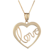 Cheap 14k Yellow Gold Heart Love Pendant Necklace for Beautiful Girlfriend for Christmas Day