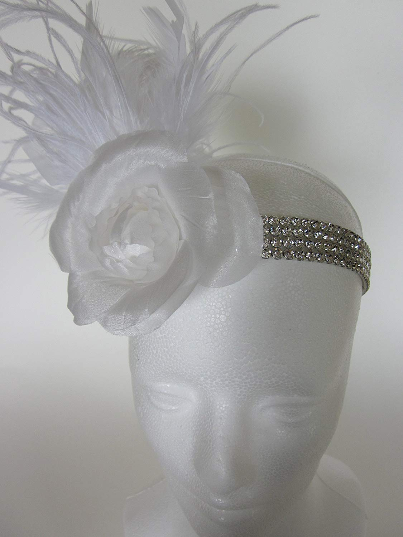 Custom Bridal White Headpiece, Wedding Rhinestone Headband, Satin flower Rhinestone Beading, White, Ivory, or Black Feathers, Flapper Headpiece 10+ Feather Color choices, Daisy Buchanan Gatsby Feather Fascinator