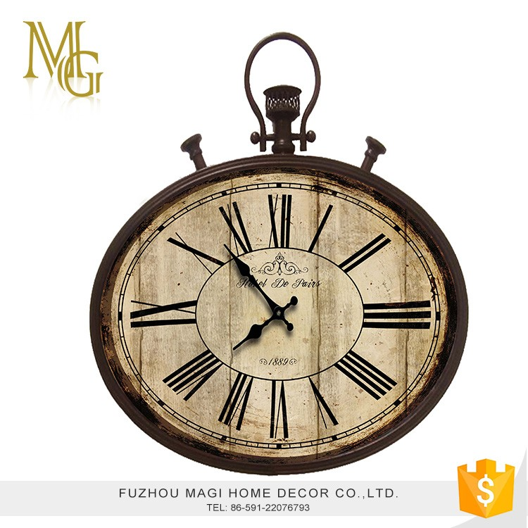 French style creative shabby chic round metal wall clocks