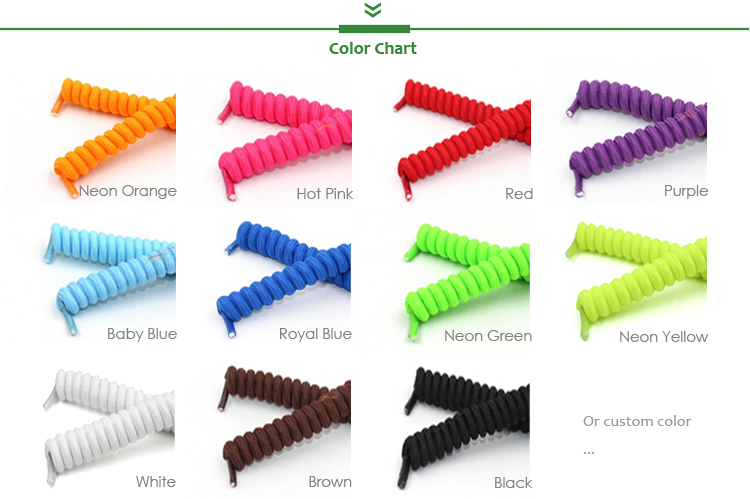 Customized Colorful Tieless Elastic Curly Spiral Special Coil Shoe Lace