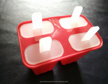 BPA Free DIY FDA /LFGB 4 cups Silicone Popsicle Ice maker Silicone Ice Cream Mould with Plastic sticks