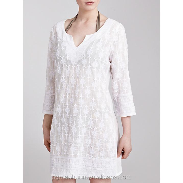Arab High Quality 100% Cotton Embroider Dress Designer Short ...