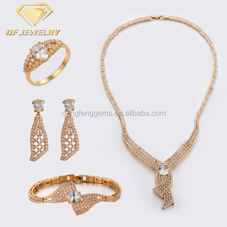 Luxury Cubic Zirconia Jewelry Necklace Set Indian Gold Bridal Jewelry Sets