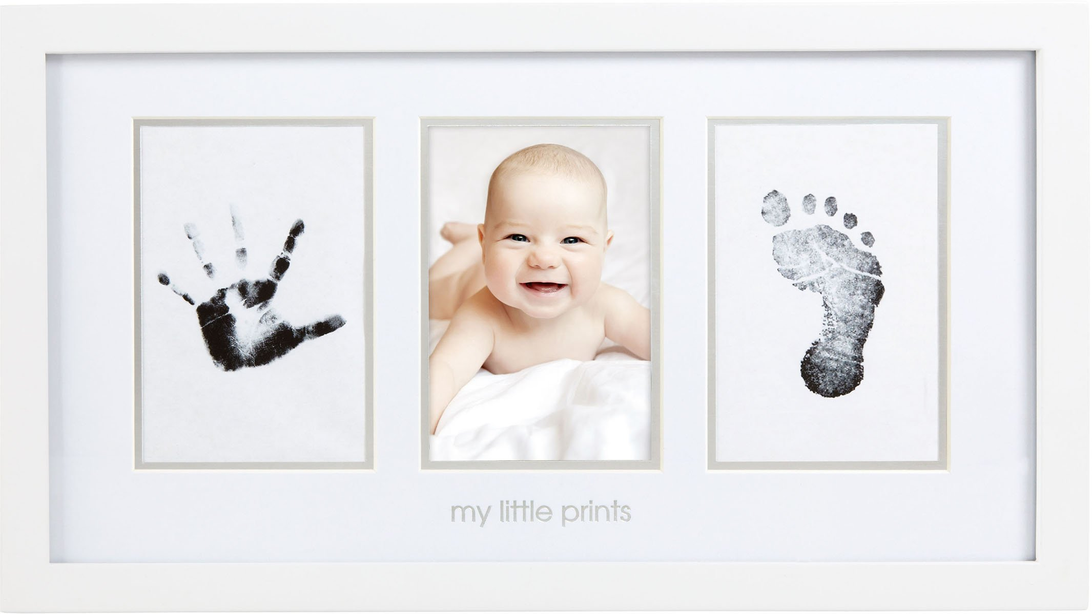Pearhead Babyprints Newborn Baby Handprint and Footprint Photo Frame Kit, White