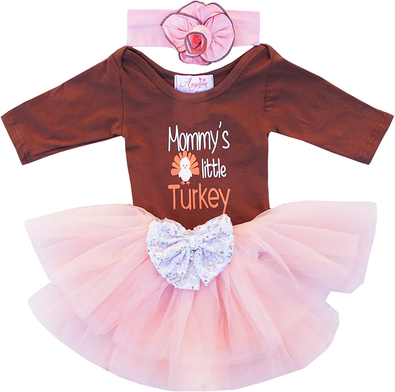 f3832618eabf Get Quotations · Angeline Boutique Clothing Baby Thanksgiving Turkey  Bodysuit Tutu Romper Dress Set