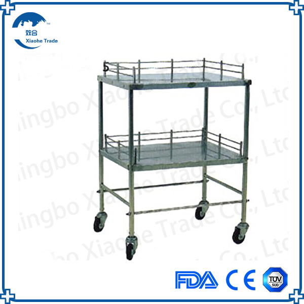 Hospital stainless steel double layer surgical instruments table