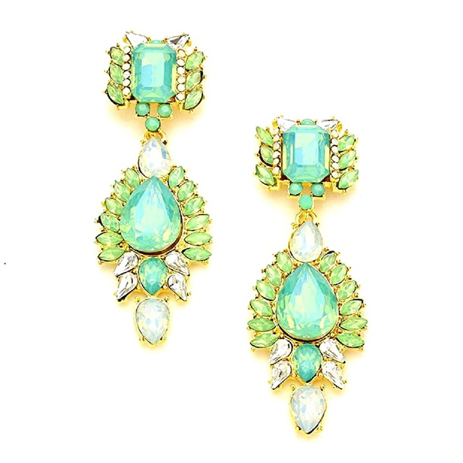 Get Ations Uniklook Jewelry Pop Urban Chic Mint Green Clear Crystal Chandelier Gold Earrings