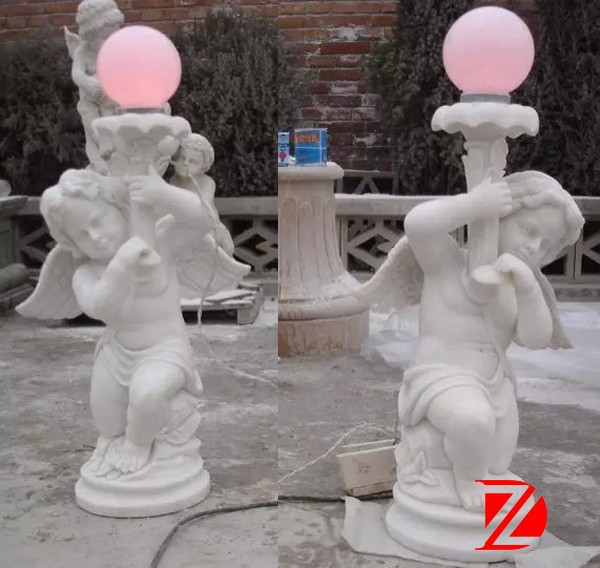 Stone Small Angel Statue With Lamp In Pair