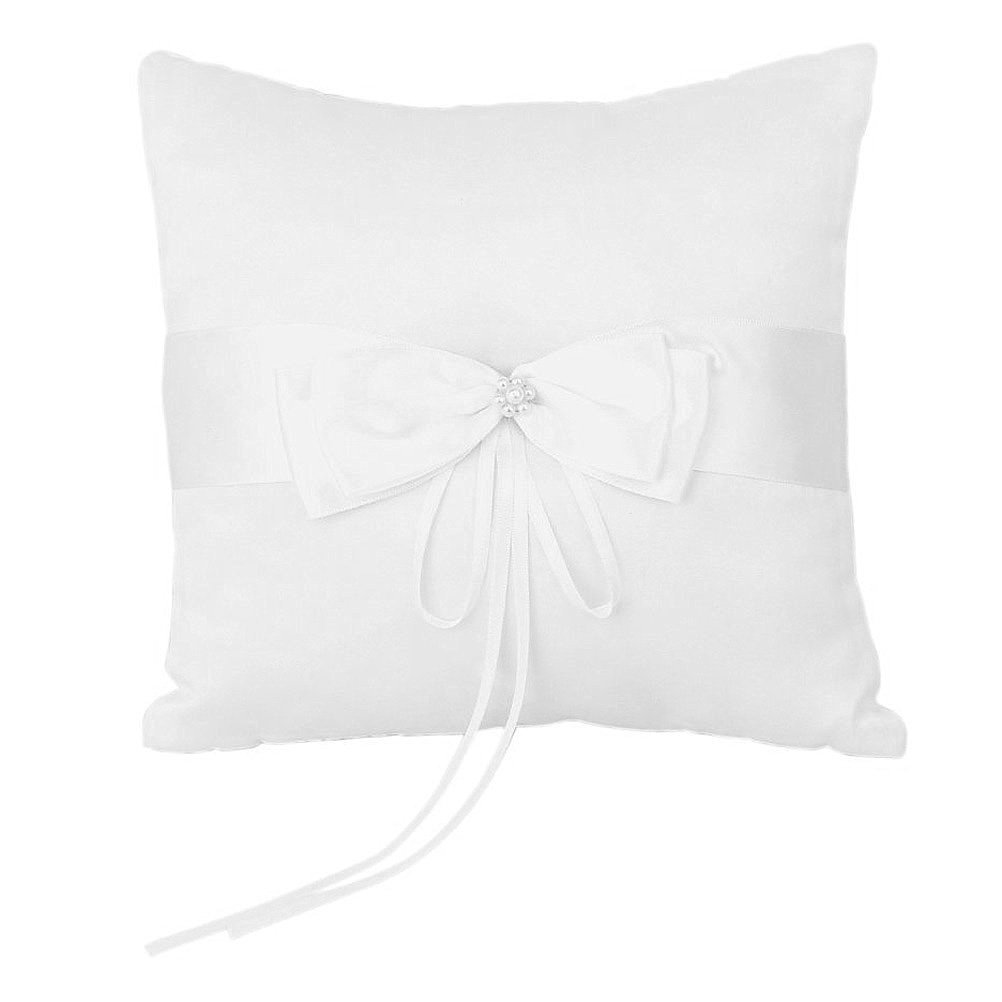 Tinksky 20*20cm Wedding Ceremony Ring Bearer Pillow Cushion with Satin Double Bowknot Flower Faux Pearl (Ivory)