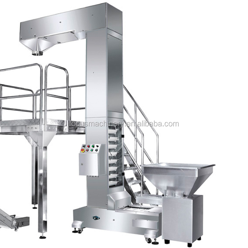 The process Bucket elevator and vibrating feeder in packaging line