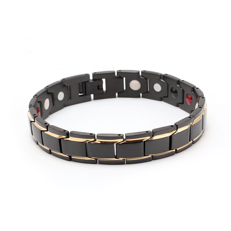 Two Tone Mens Stainless Steel Health Bracelet, Black&gold
