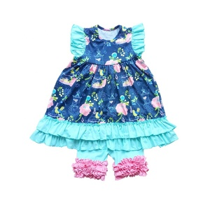 2019 summer products wholesale baby clothes girls boutique outfits floral prints dress and shorts children clothes clothing sets