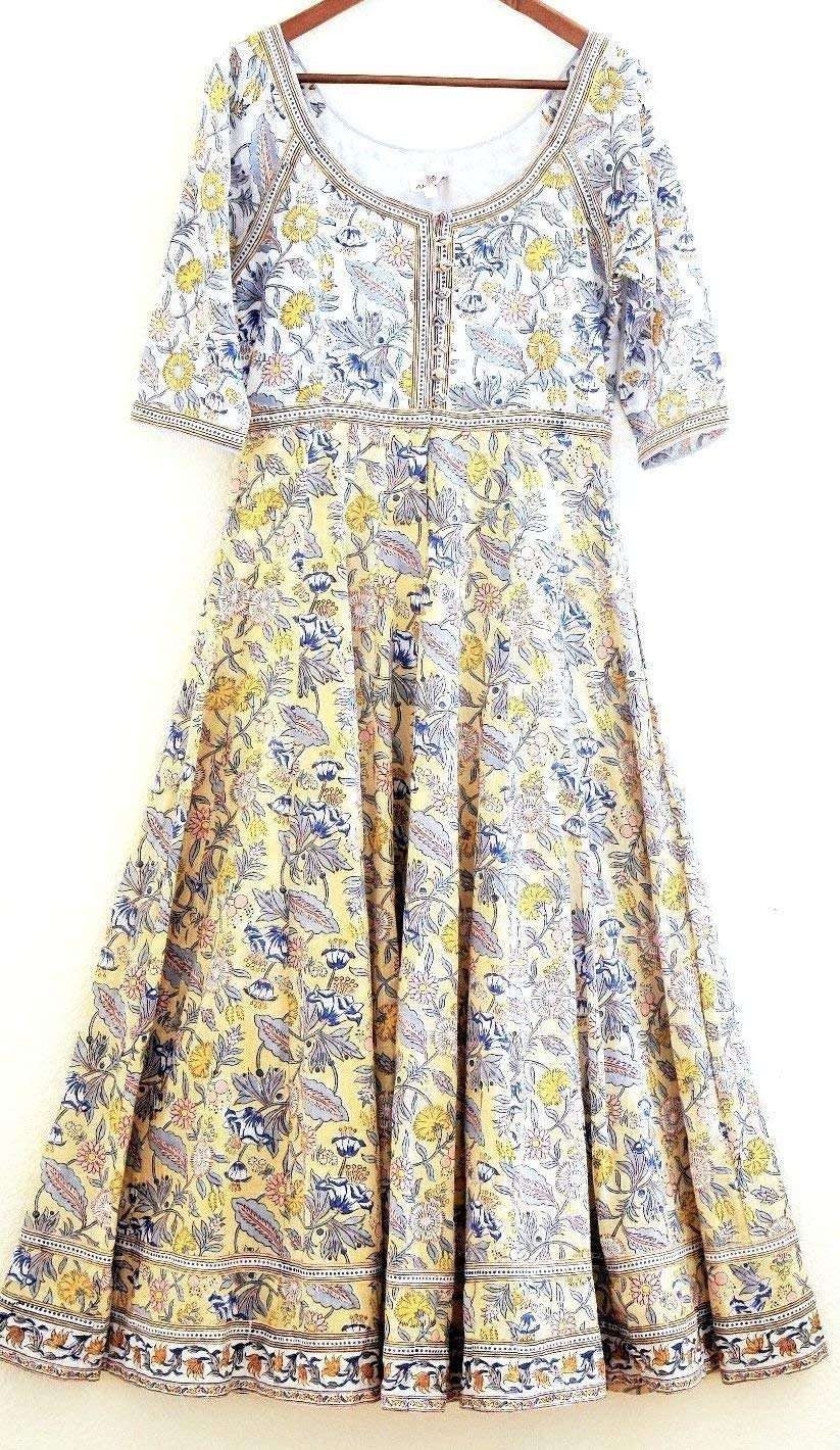 dfbe7ac128e Get Quotations · Pale Citron Floriana Floral Anokhi Hand block print Indian  cotton Gypsy style Maxi Dress