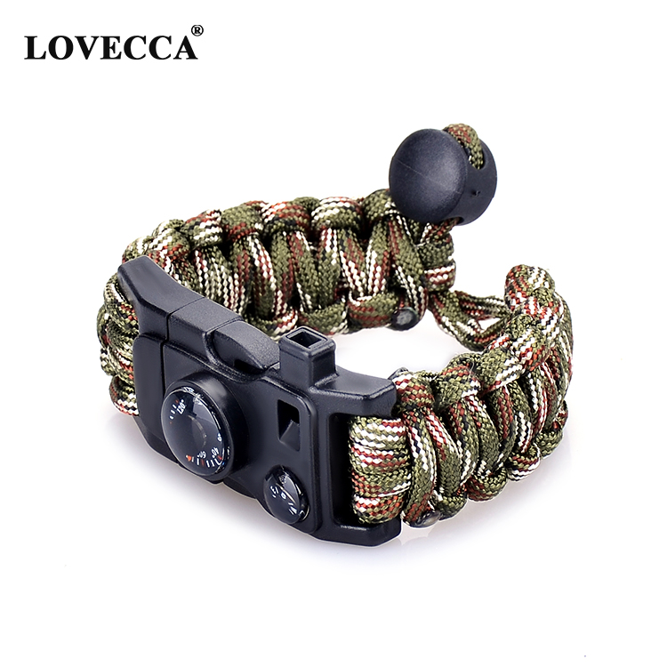 Adjustable sos Bracelet Flint Fire Starter Scraper Compass Whistle Men Women Survival Paracord bracelet