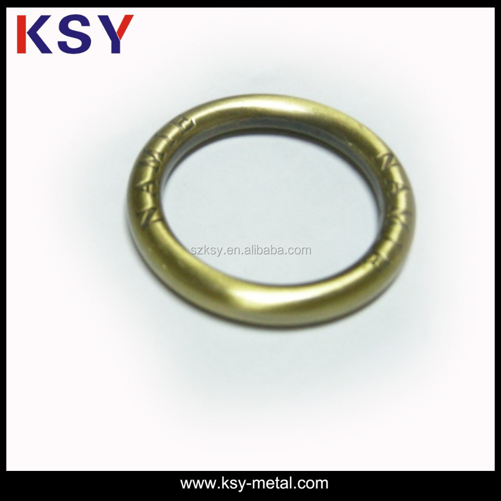 Brushed Anti-brass plated metal o ring buckle with engraved logo