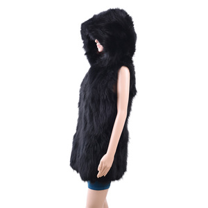 2016/2017 new fashion real fur vest with big hoodie/raccoon fur vest for women KZ160066