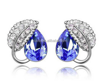 free shipping women stud earring silver crystal stud earring 8 colors in stock