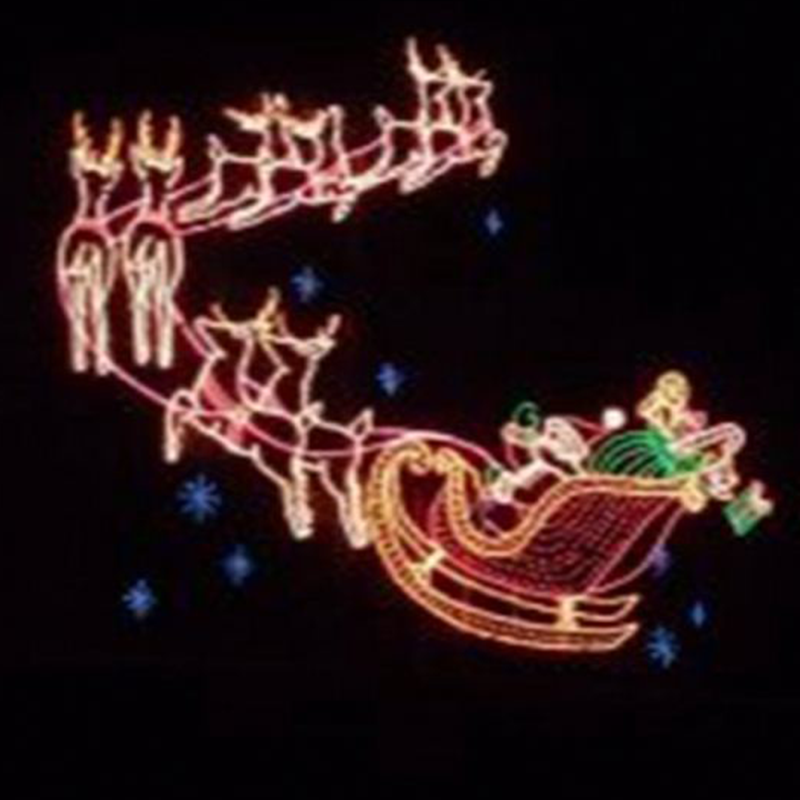 Outdoor Lighted Santa Reindeer Sleigh