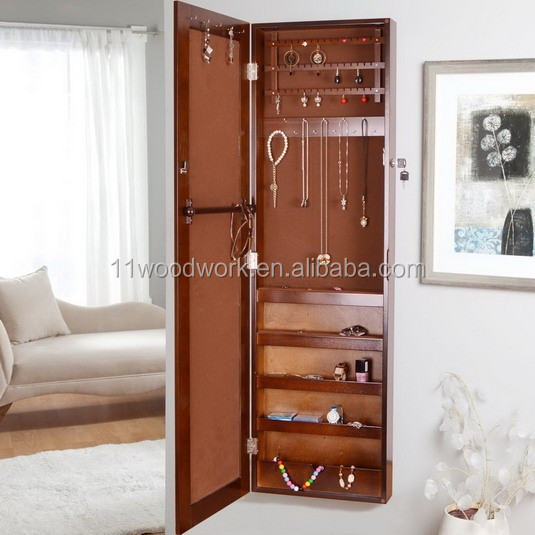 Wand spiegel sieraden kast houten kast deur omlijst spiegel sieraden houten kasten product id - Spiegel psyche sieraden deur ...
