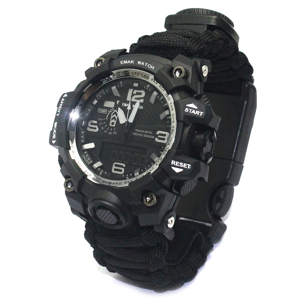Survival adventure Paracord emergency watch with tactical features in wild, Black