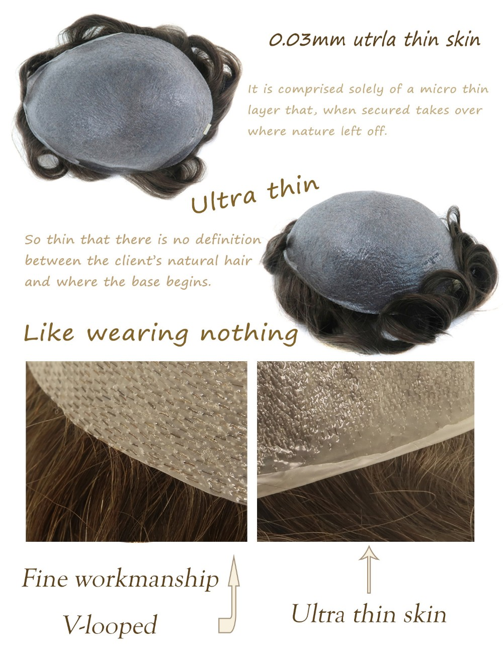 Zhongfa Indian Remy Hair Toupee Transparent 0 03mm Ultra Thin Skin V-looped  Hair System - Buy Hair Piece,Hair System,Toupee Product on Alibaba com