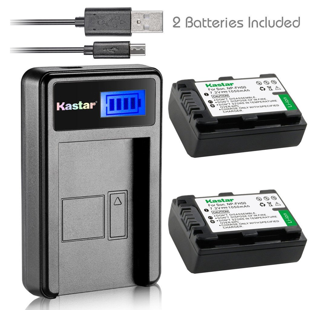 Kastar Battery (X2) & LCD Slim USB Charger for Sony NP-FH50 NP-FH40 NP-FH30 NP-FP50 NP-FP51 and Sony A230 A290 A390 DSC-HX1 HX100 HX100V HX200 HX200V HDR-TG1E TG3 TG5 TG7 Camera