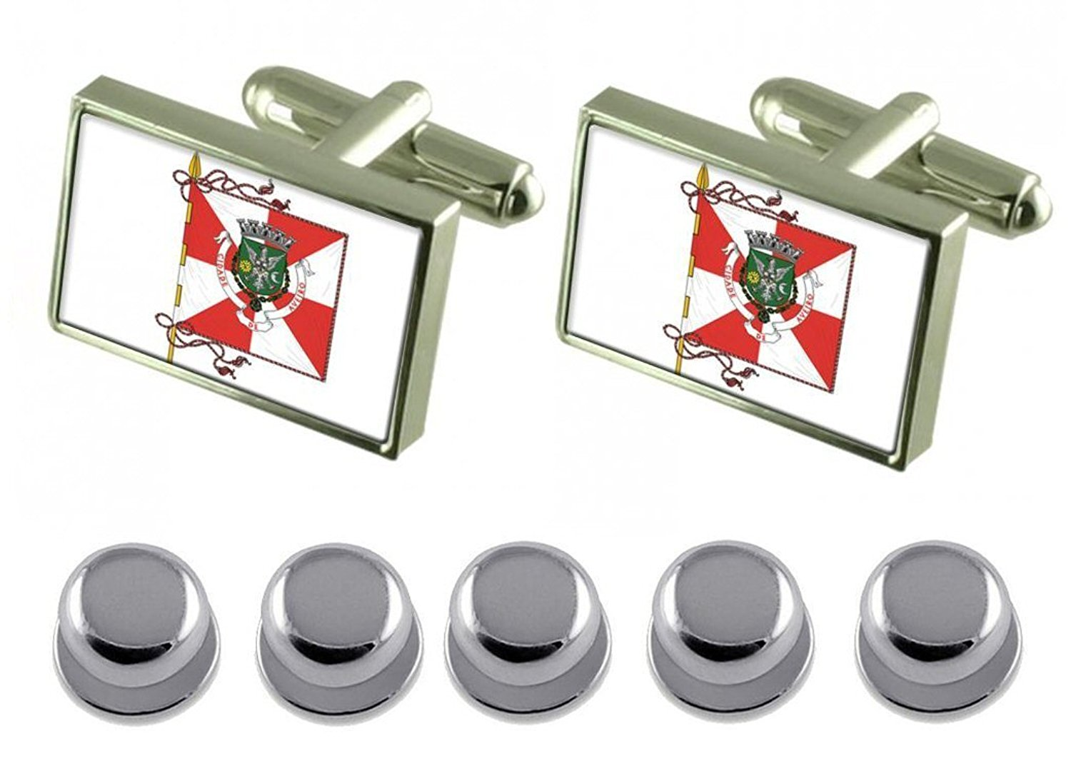 Select Gifts Aveiro City Portugal Gold-Tone Flag Cufflinks