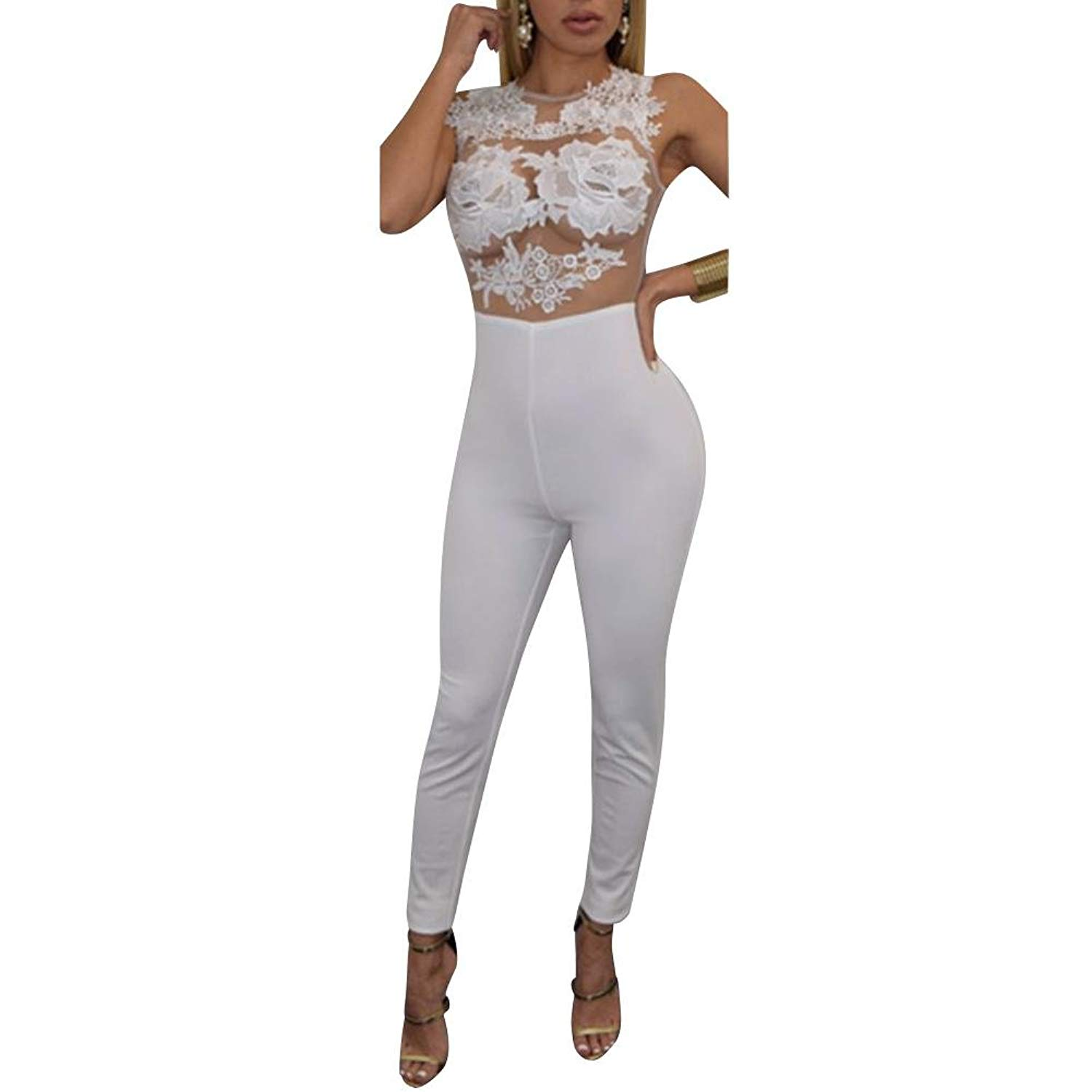 e8eae12977a4 Get Quotations · Diamondo Womens Lace Bandage Bodycon Jumpsuit Romper  Trousers Clubwear XL White