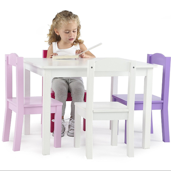 Kids Children Wood Table And 2 4 Chairs Set White Pink Purple Friends Collection Bedroom Primary Furniture Buy White Kids Children Study Table