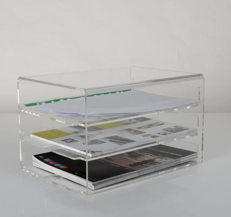 3 layers clear acrylic document box,desktop acrylic file box