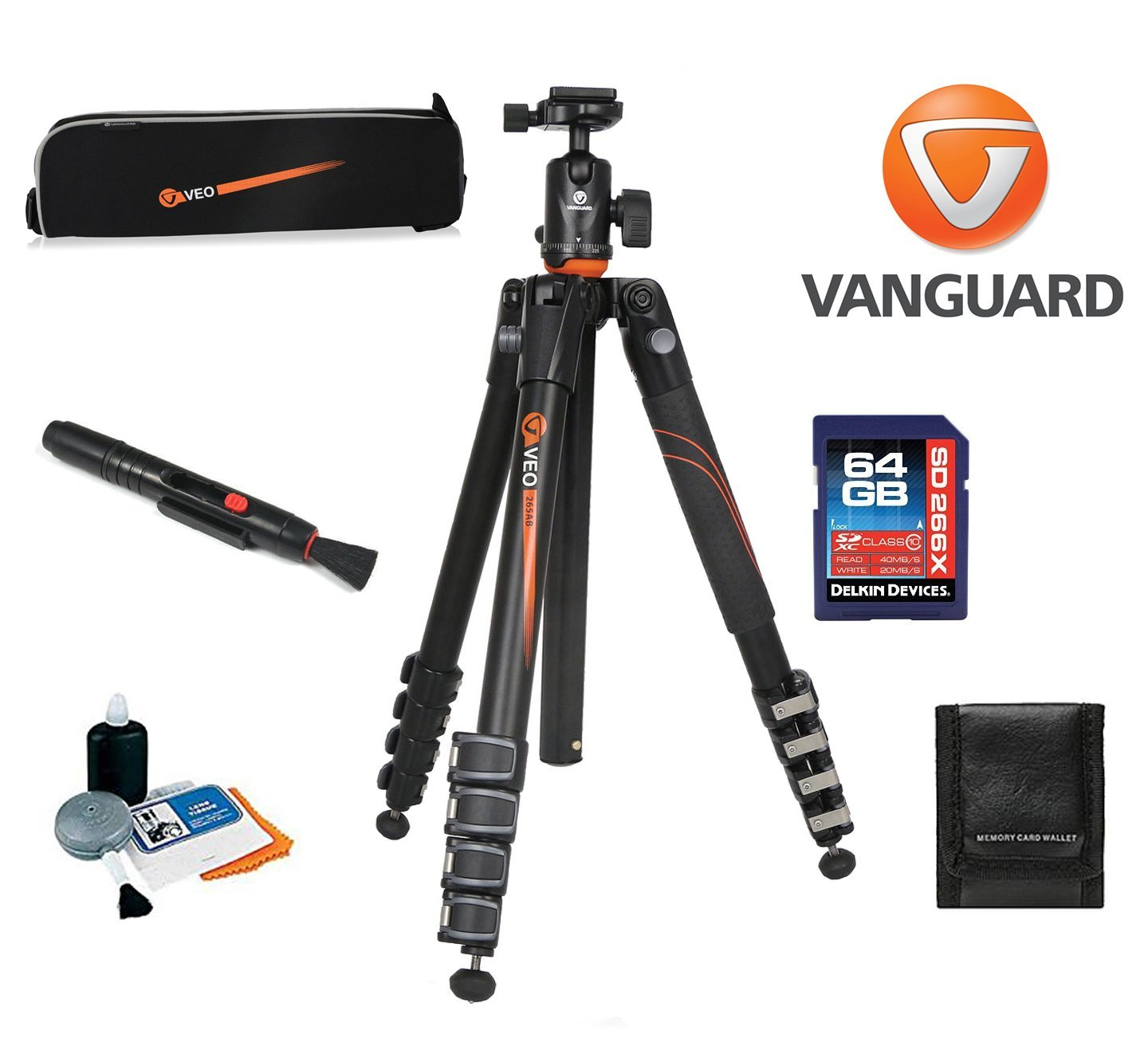 Vanguard VEO 265CB Carbon Fiber Tripod with TBH-50 Ball Head W/ Vanguard Case, 64GB SDXC Card, Cleaning Kit, Lens Pen, Memory Card Wallet