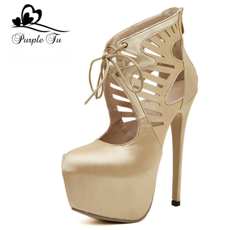 69e76145167 Get Quotations · luxury Brand design 2015 Fashion Round Toe Lace up 16cm  High Heels platform women pumps ladies