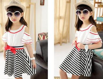 a94aea77fe Latest design short sleeve children clothes western style fashion beautiful  fancy stripe off shoulder girls puffy